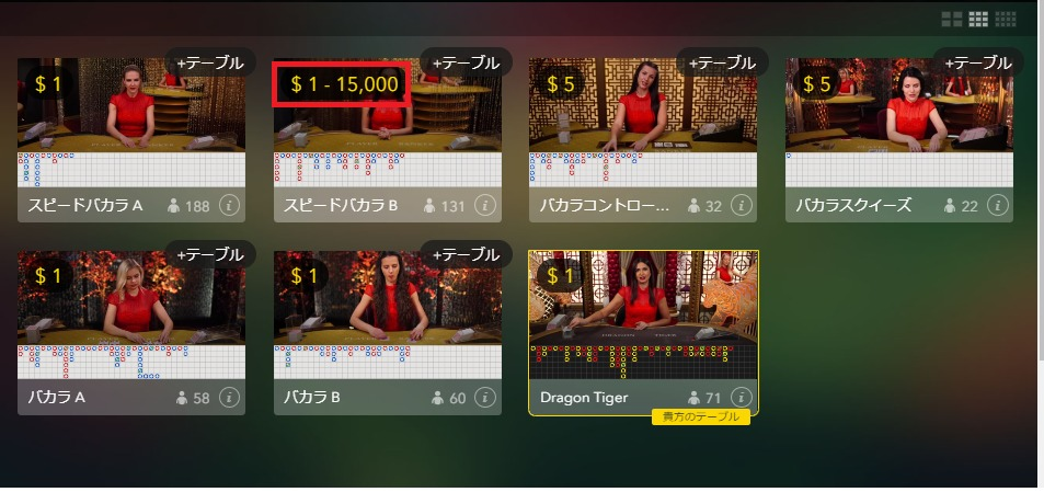 チェリーカジノのライブバカラは万ドルベットできる?